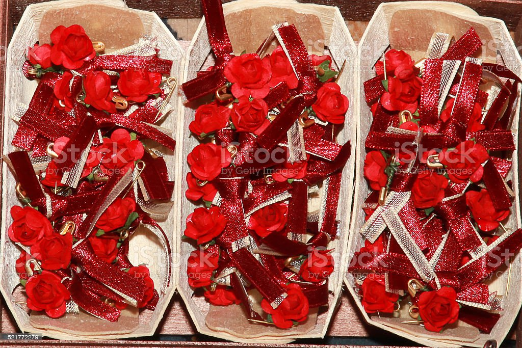 Boutonnières dans des paniers stock photo