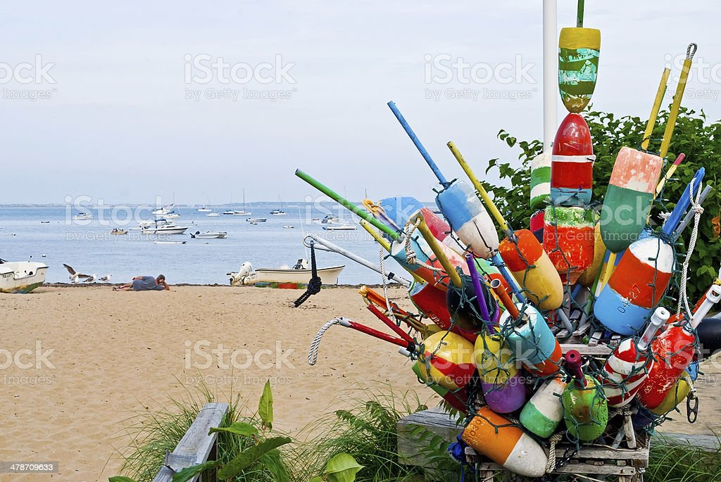 Bouys and Boats stock photo
