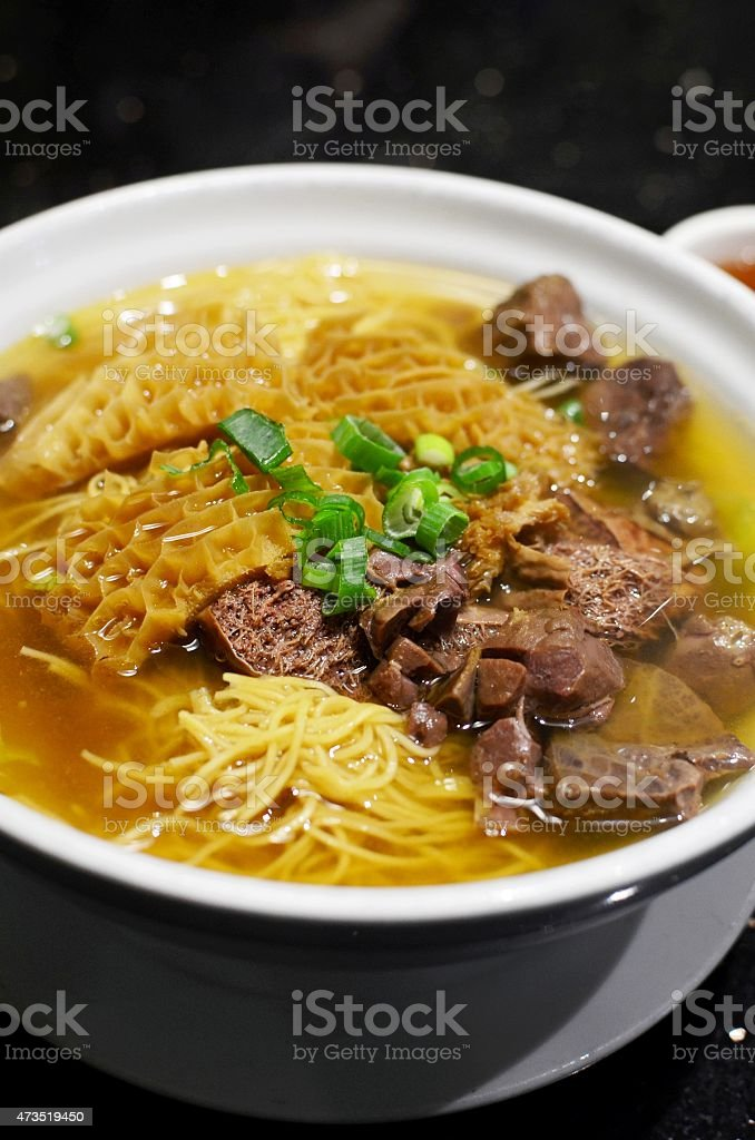 Bovine offal with noodles stock photo