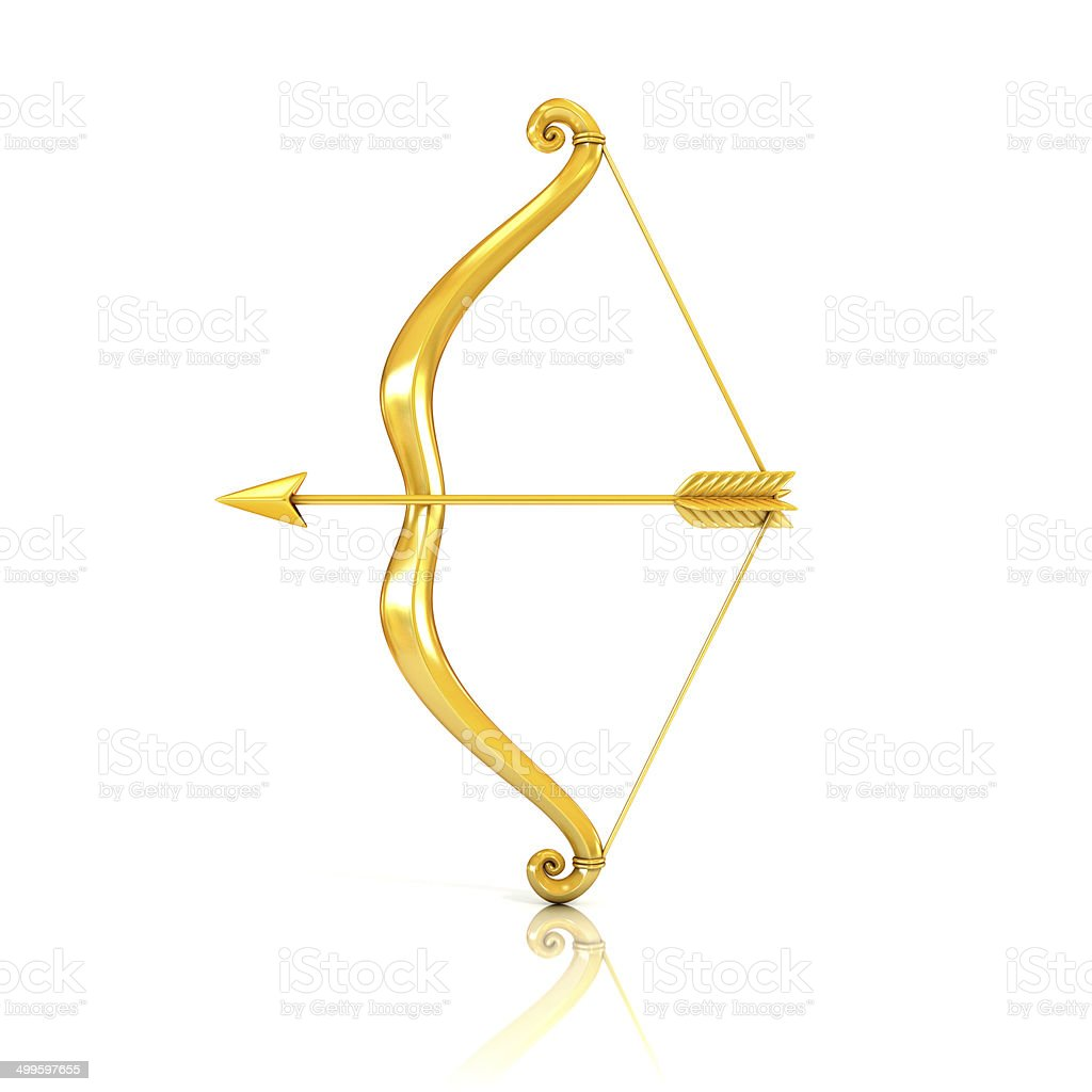 Bow and arrow in gold reflected on surface stock photo