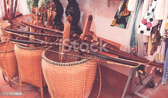 istock Bow and arrow old ottoman vietnamese weapon system archery, and wooden bag 1171020655