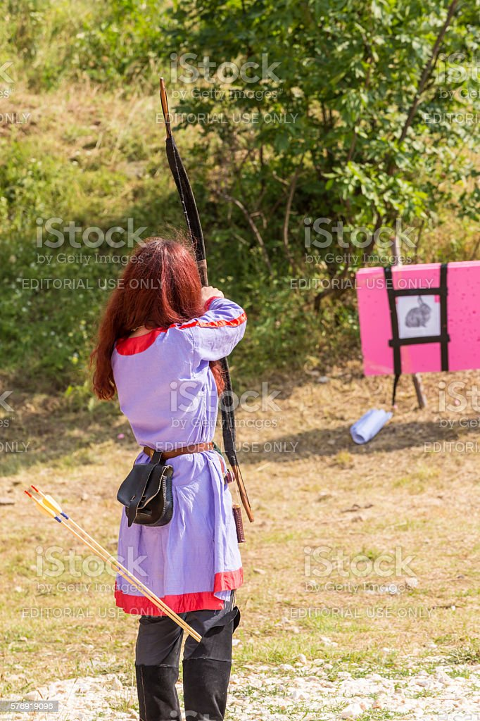 Bow and arrow shooting contest stock photo