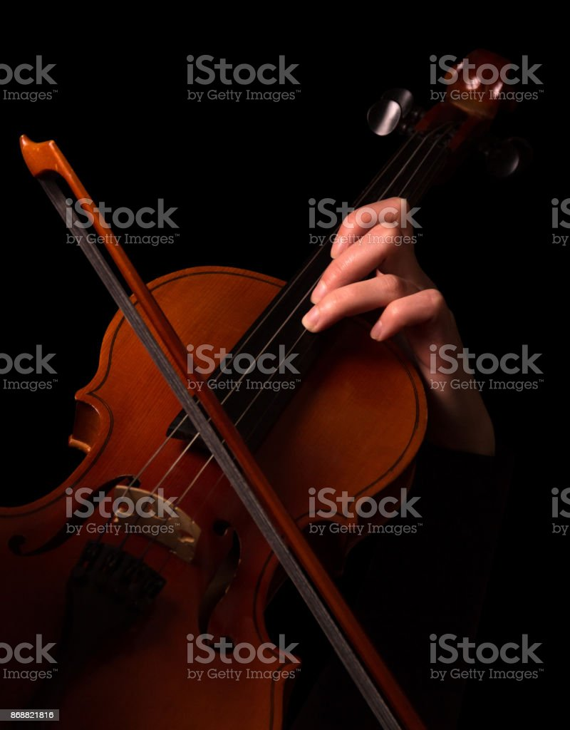 Bow and female fingers on violin strings isolated on black stock photo