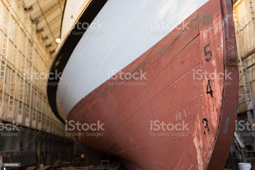 Bow and Hull of a Historic Wooden Steam Powered Vessel stock photo