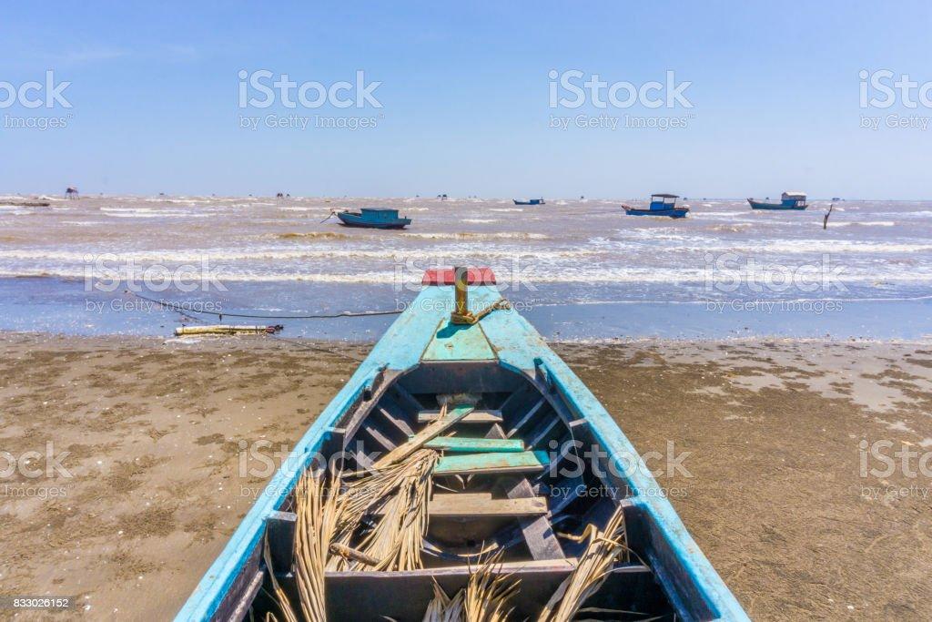 Bow blue ship to the sea stock photo