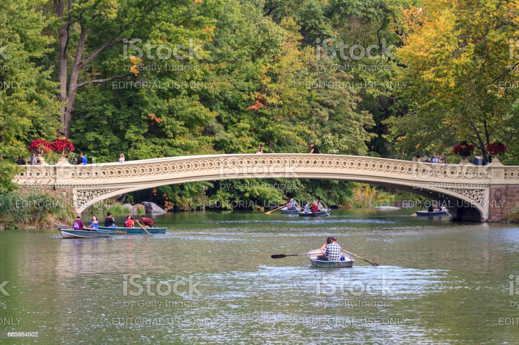 Bow Bridge in Central Park stock photo