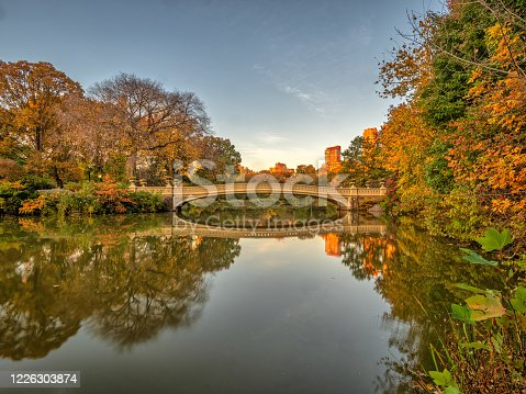 Bow bridge, Central Park, New York City in late autumn