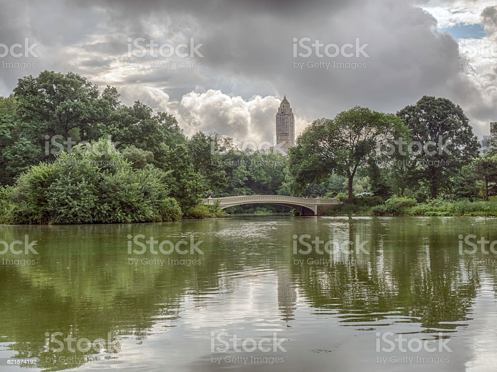 Bow bridge on the lake photo libre de droits