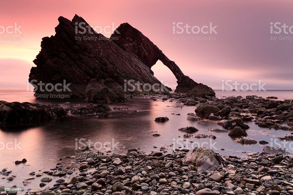 Bow Fiddle Rock at Portknockie stock photo