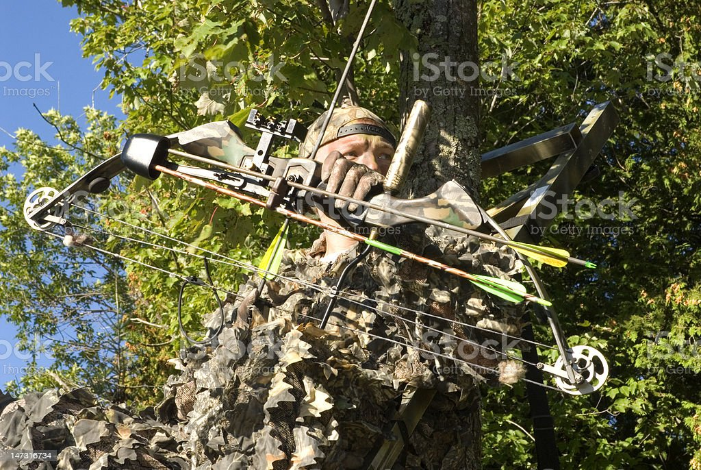 Bow Hunter in Full Camouflage stock photo