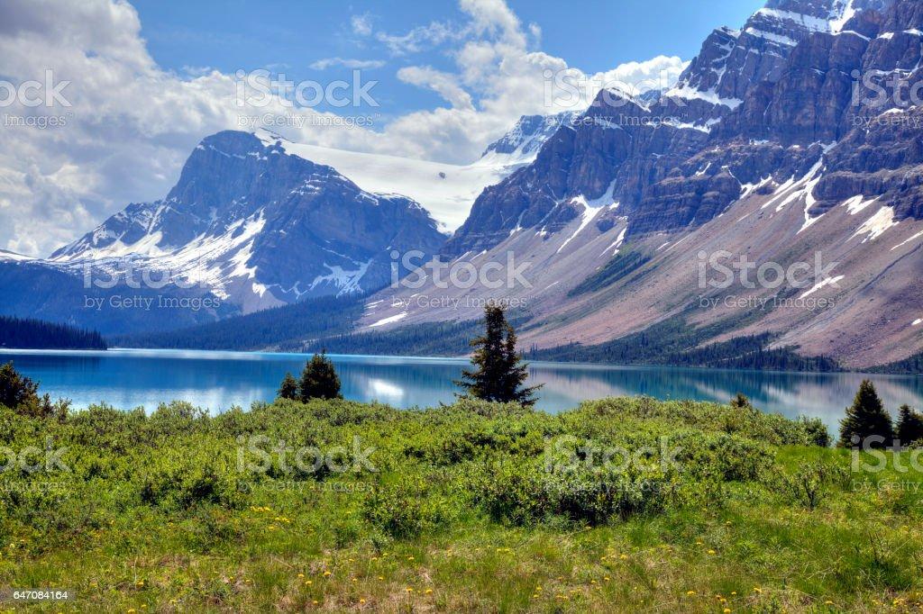 Bow Lake and Crowfoot Mountain, Banff National Park, Alberta, Canada. stock photo