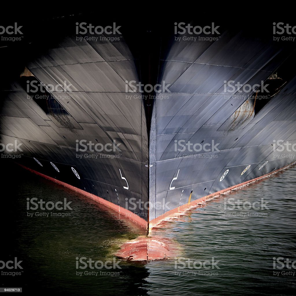 Bow of a large ship stock photo