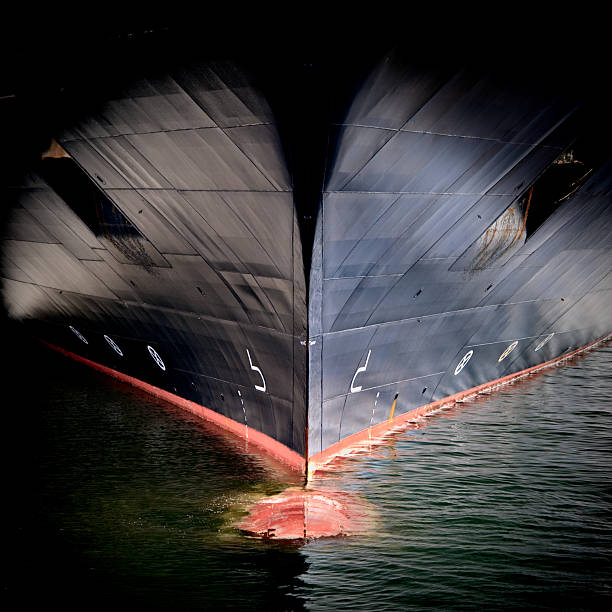 bow of a large ship - hull stock pictures, royalty-free photos & images