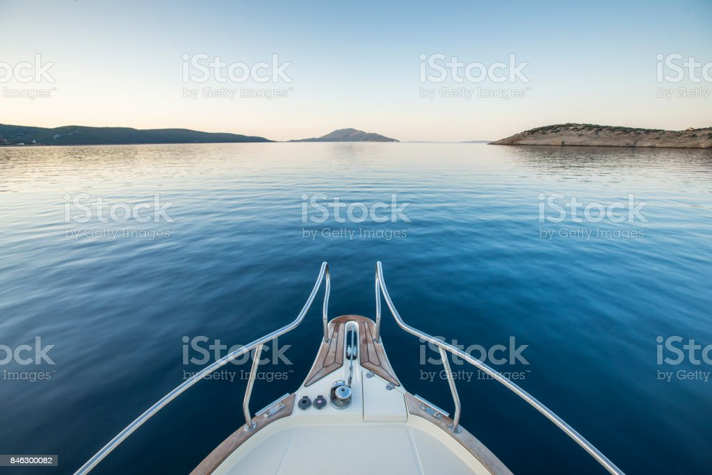 Bow of a luxury yacht stock photo