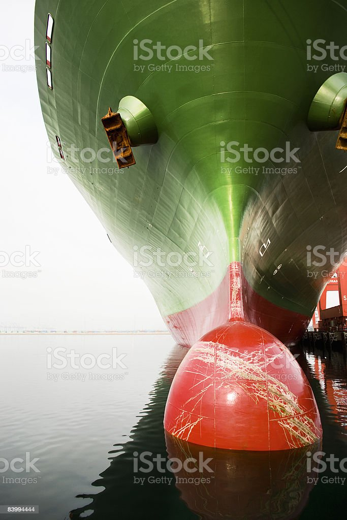 Bow of a red and green cargo ship. royalty-free stock photo