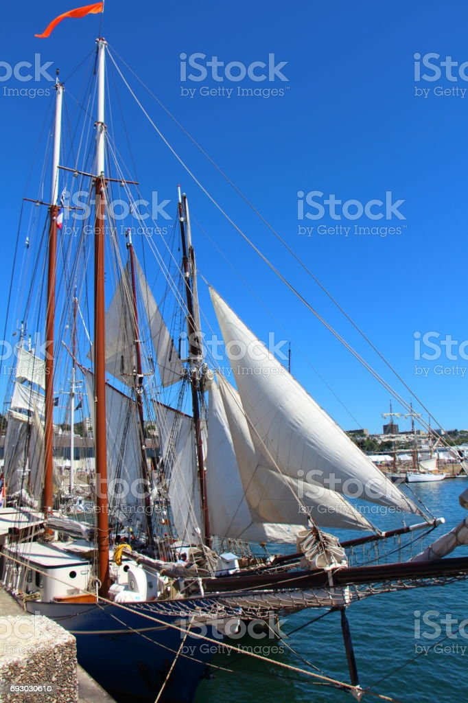 Bow of a sailboat stock photo