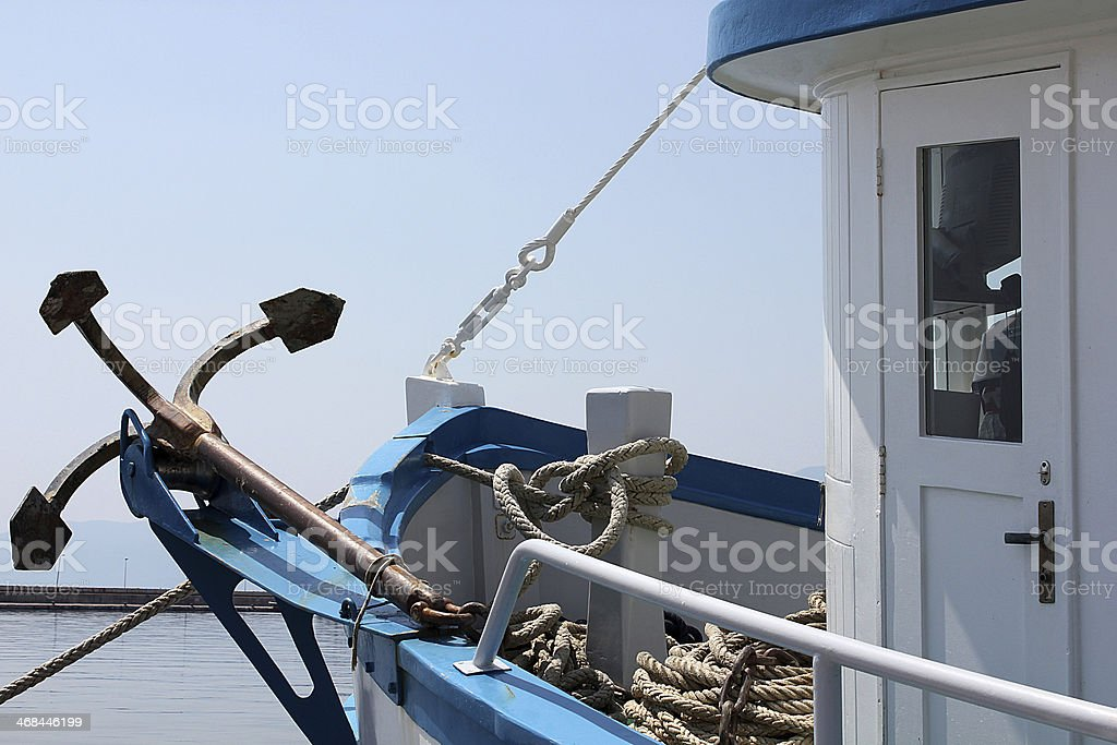Bow of a ship with an anchor royalty-free stock photo