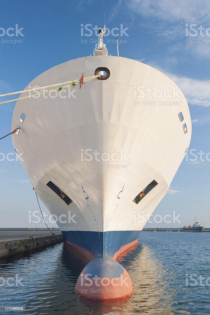 Bow of dry cargo ship stock photo
