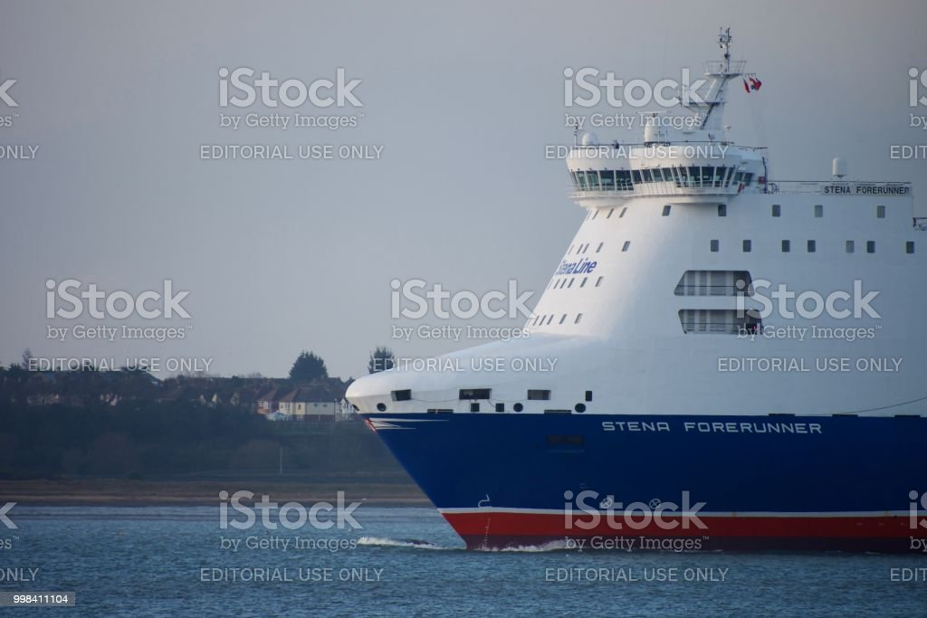 Bow of ferry leaving Harwich Harbor, Suffolk, UK stock photo