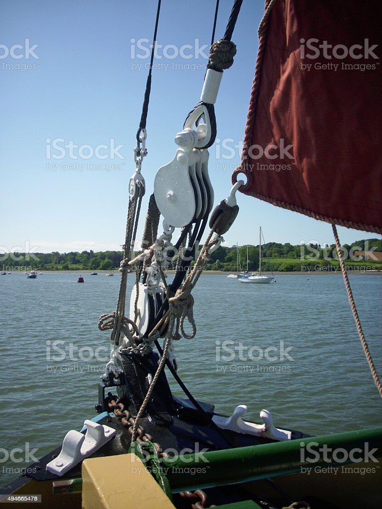 Bow of sailing barge stock photo