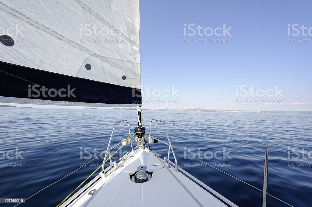 Bow of Sailing Yacht stock photo