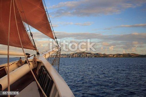 Bow of ship approaching the St Croix USVI Coastline
