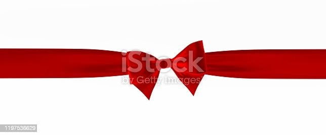 bow, ribbon, 3d, red, rendering, white background, isolated