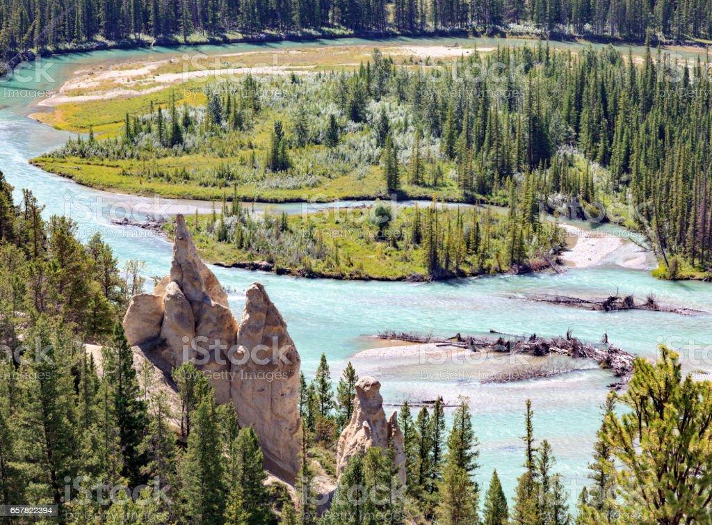 Bow river at Hoodoos trail stock photo