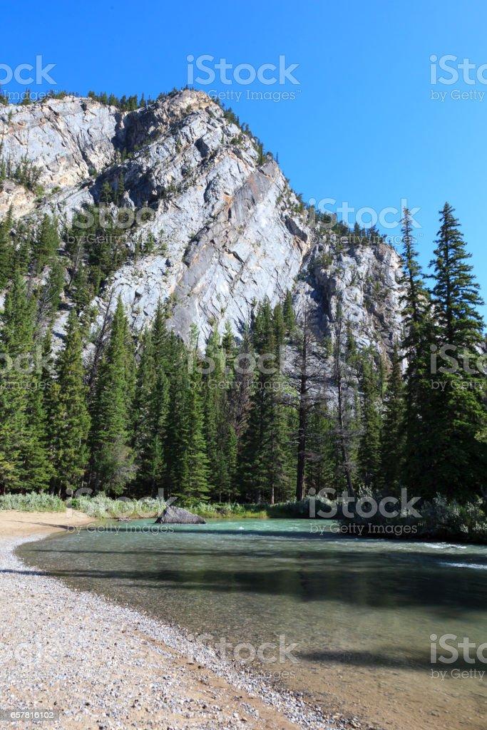 Bow river at Hoodos Trail stock photo