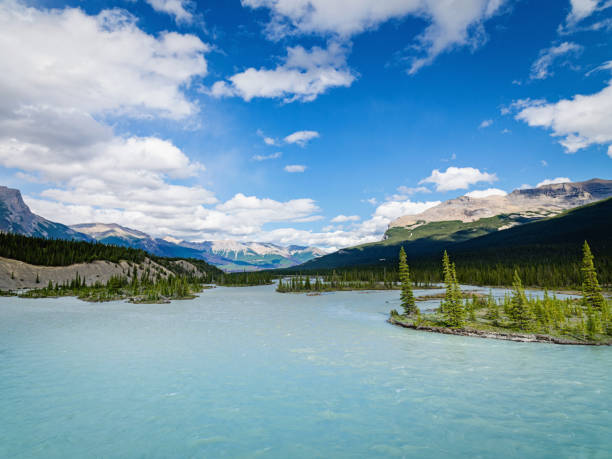 Bow River Canadian Rocky Mountains River Canada stock photo