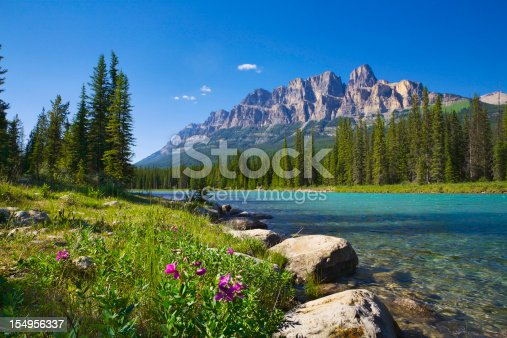 Banff National Park, featuring Castle Mountain and Bow River.
