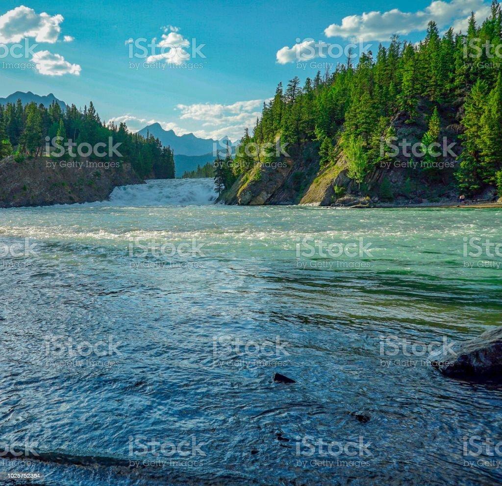 Bow River in Banff Alberta Canada stock photo