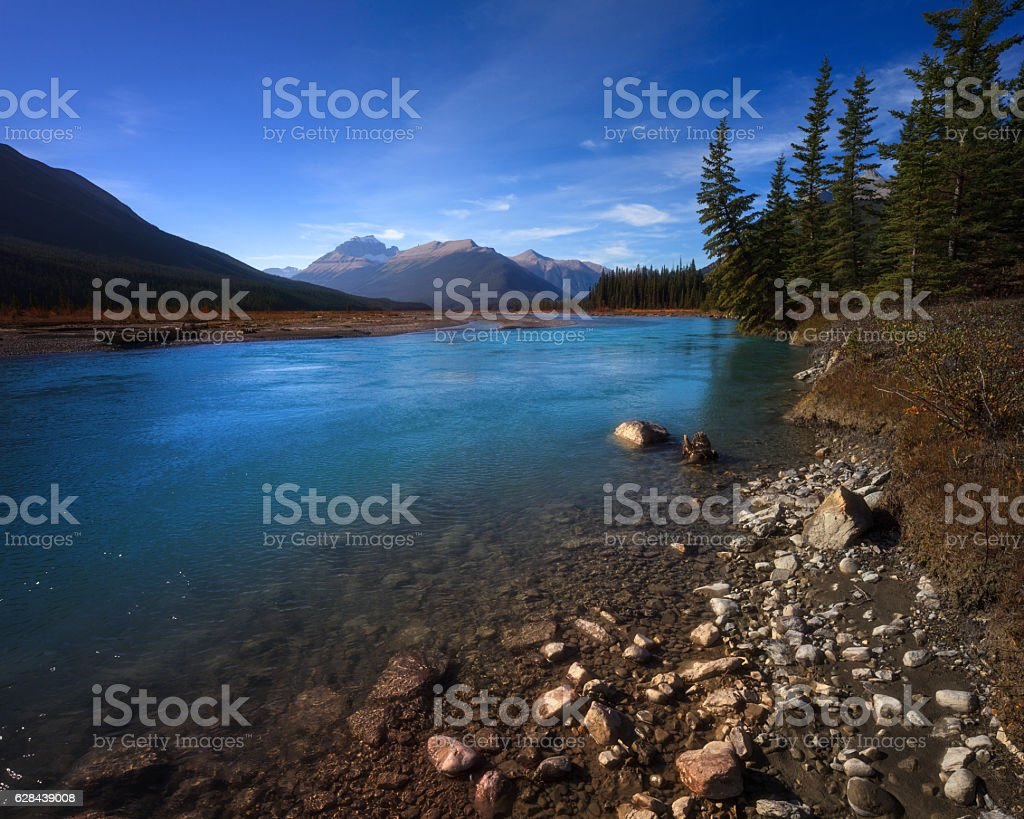 Bow River in Banff stock photo