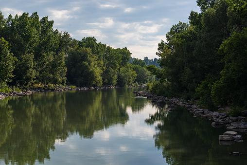 Bow river nature views inside Calgary, Alberta, Canada