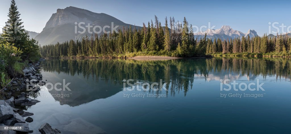 Bow River with Pigeon Mountain and Mount Lougheed stock photo