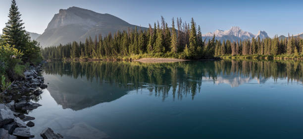 bow river with pigeon mountain and mount lougheed - wilderness stock pictures, royalty-free photos & images