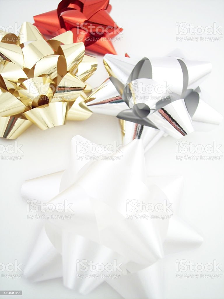 Bow Series - 4 Colours:  Gold, Red, Silver, & White royalty-free stock photo
