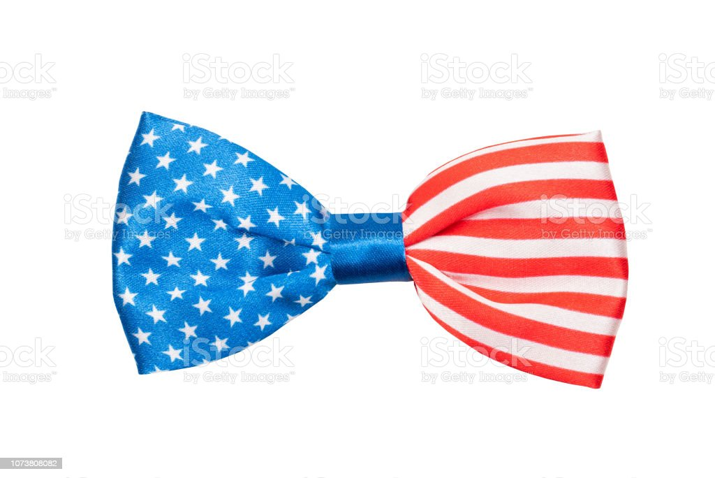 bow tie with USA flag isolated on white background stock photo