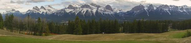 Bow Valley Canmore Alberta Foothills Wide Panoramic Landscape stock photo
