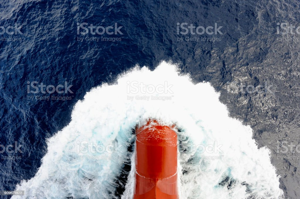 Bow Wave of Large Cargo Vessel stock photo