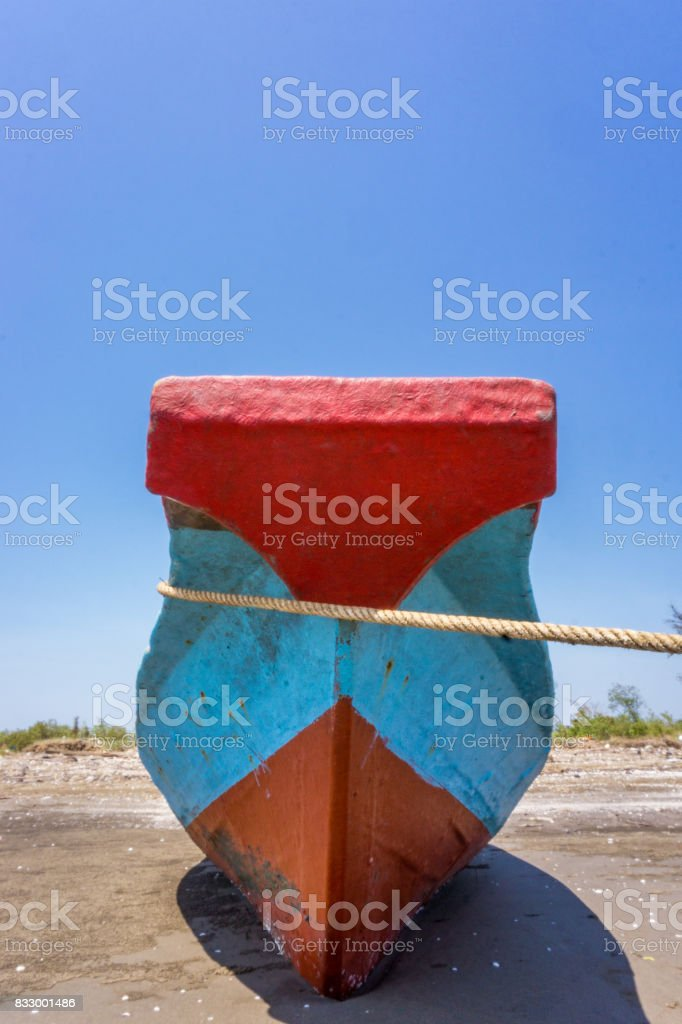 Bow wood ship stock photo