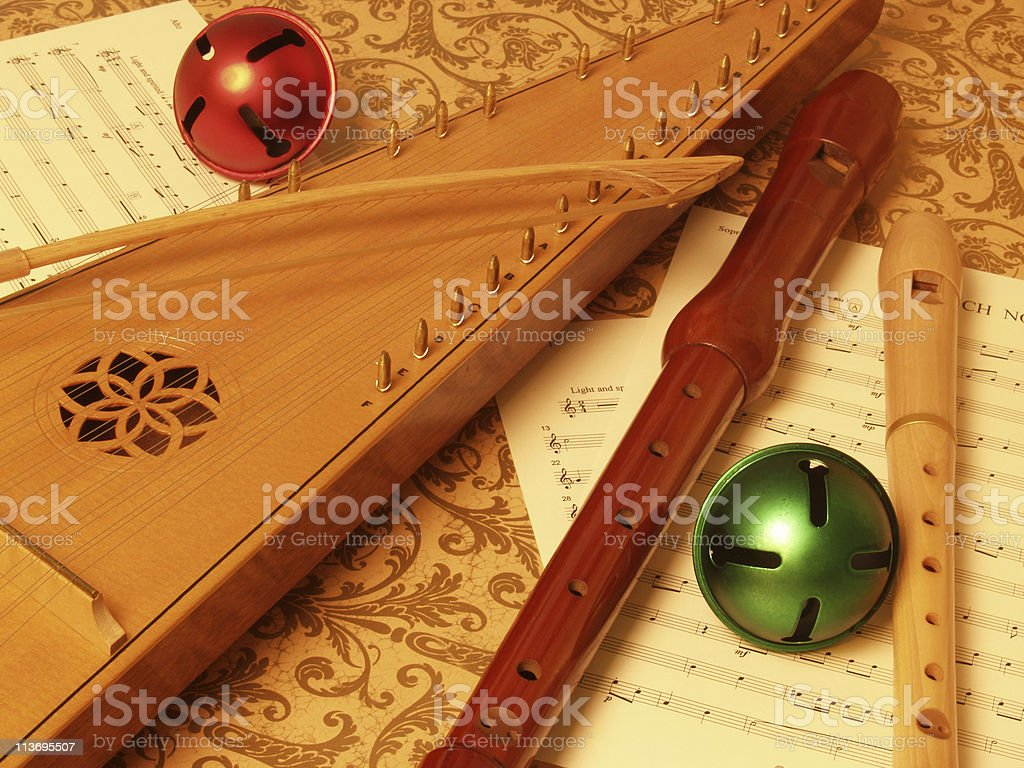 Bowed Psaltery with Recorders Closeup stock photo