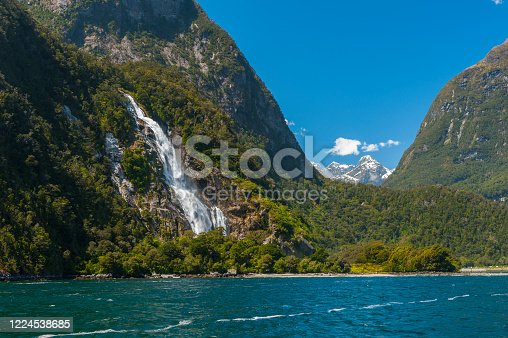 Bowen Falls Waterfall in the Milford Sound - Fiordland National Park, New Zealand