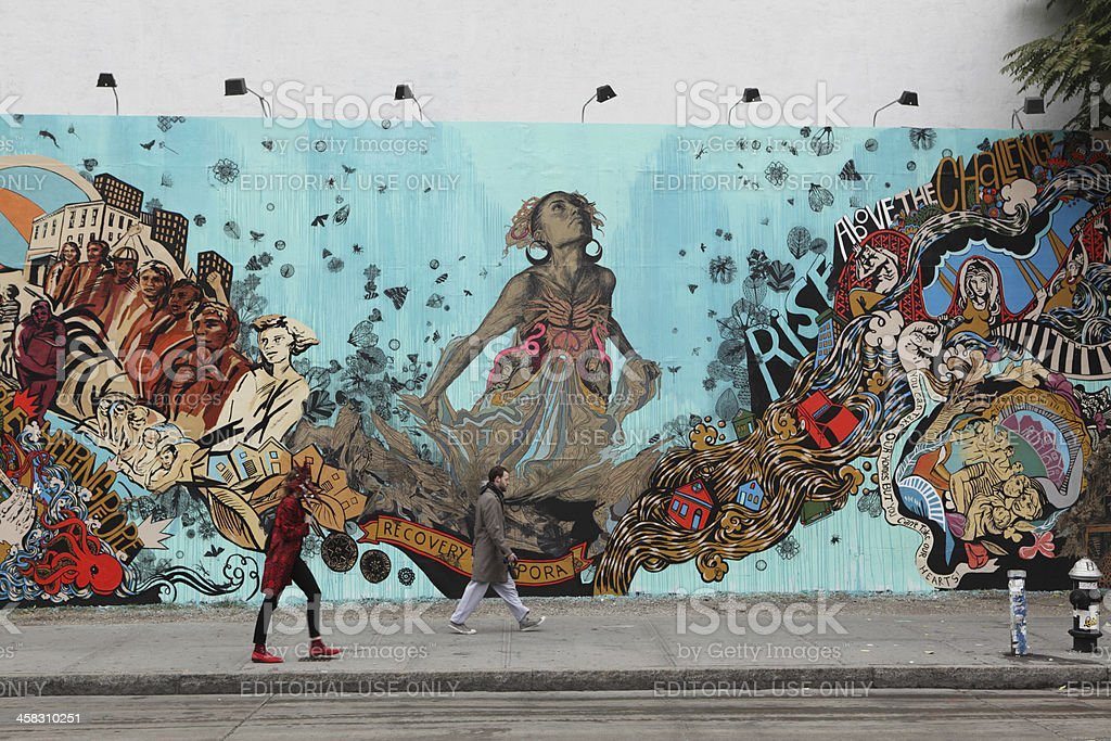 Bowery Mural Wall artist Swoon Hurricane Sandy memorial stock photo