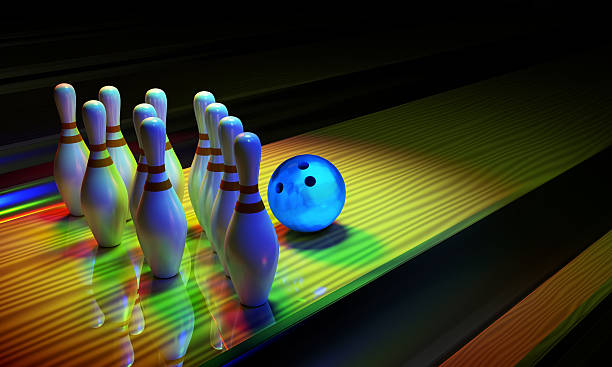 Bowing ball and skittles on the alley. – Foto