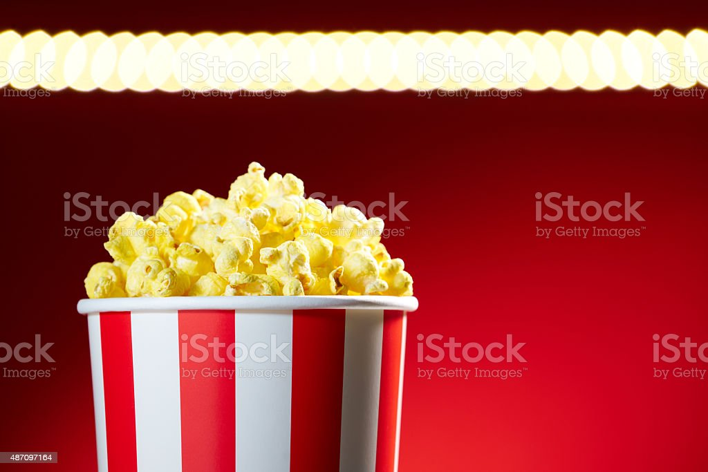 Bowl Filled With Popcorns For Movie Night With Textspace stock photo