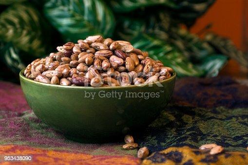 Green bowl full of dry beans