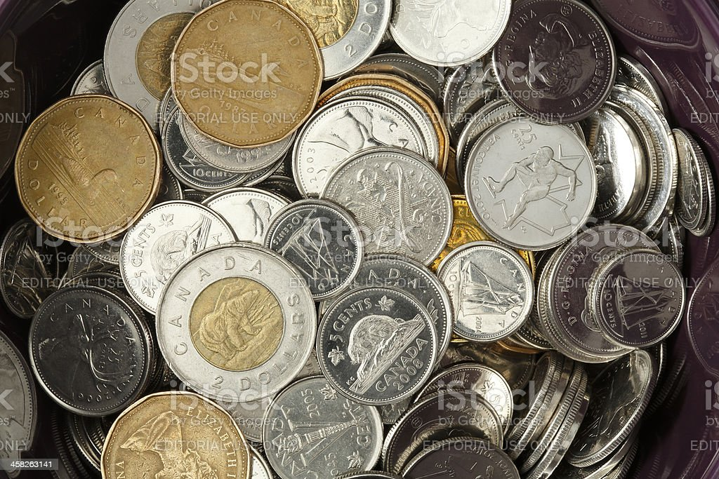 Bowl Full Of Canadian Coins - No Pennies stock photo