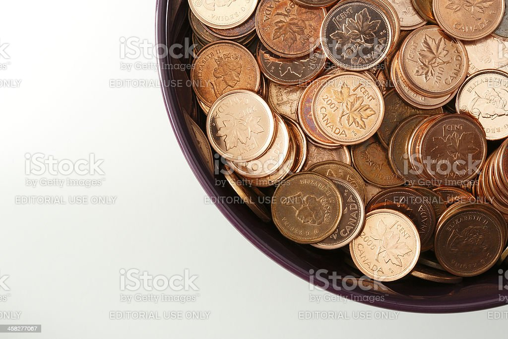 Bowl Full Of Canadian Pennies stock photo