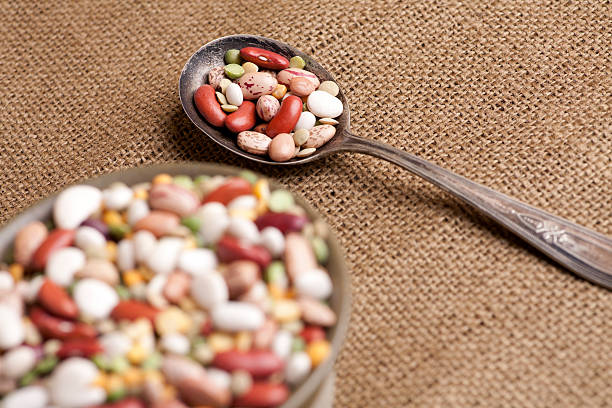 Bowl full of different beans stock photo